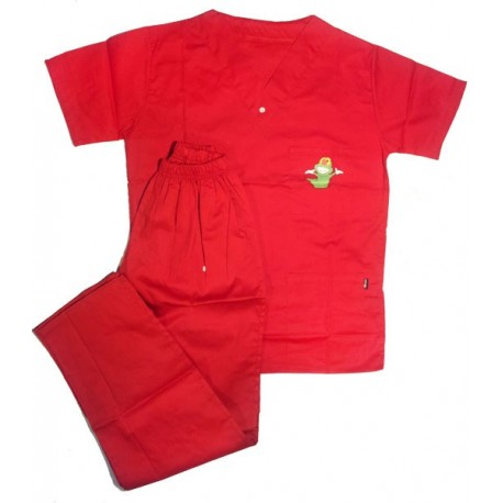Costum Medical Inscriptionat Rosu XS - XXL