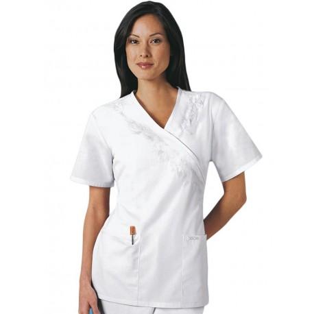 Bluza Medicala Cherokee Whites Mock Wrap Tunic Embroidery