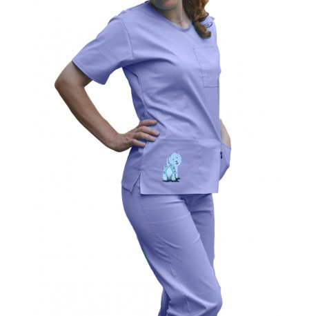 Costum Medical Uni cambrat cu decolteu rotund - inscriptionat /Happy Westie